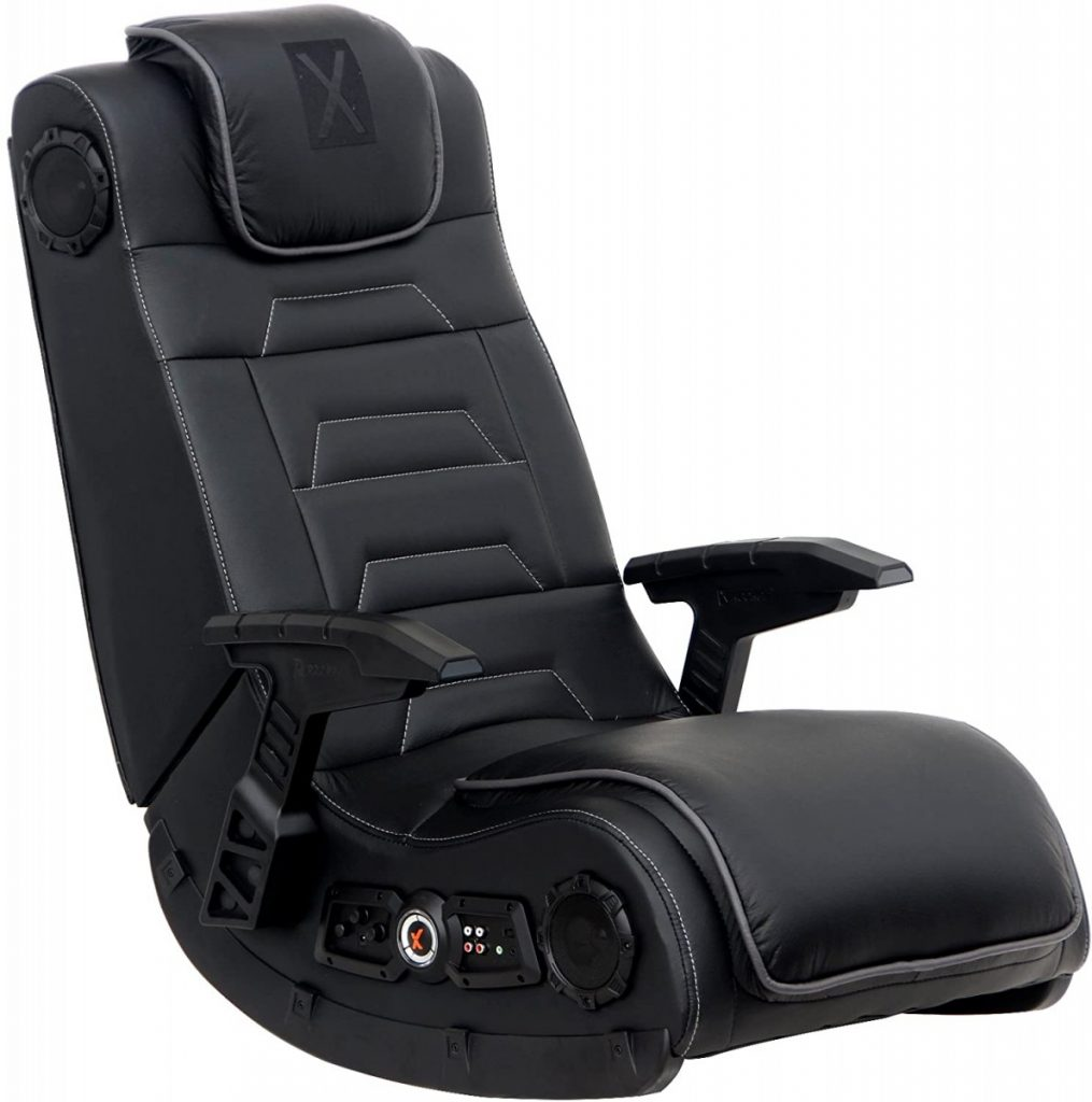 Rocker Pro Series H3 Black Leather Vibrating Floor Video Gaming Chair